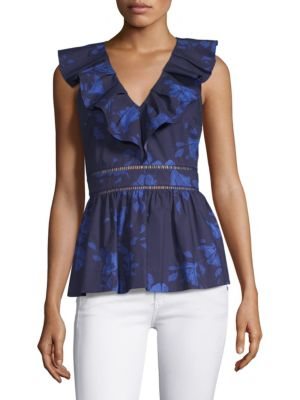 Hibiscus Ruffle Neck Cotton Blouse in French Navy