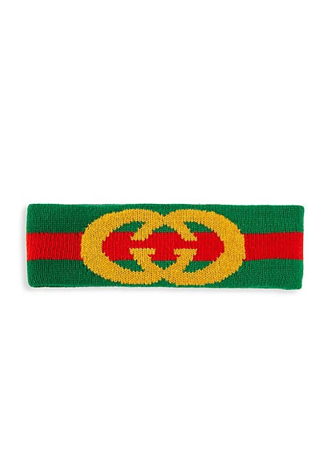 """Image of Vintage-inspired Gucci green and red logo headband crafted in elasticized wool. Width, about 3"""".Wool. Dry clean. Made in Italy."""