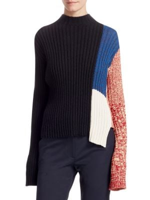 Mock-Neck Long-Sleeve Patchwork Ribbed Wool Sweater in Black