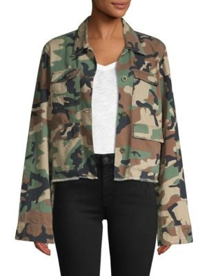 Luna Cropped Camo Jacket in Green