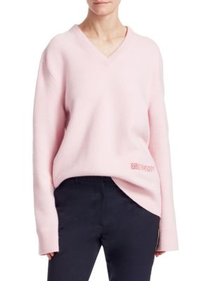 5ca61cb393fd Calvin Klein 205W39Nyc Embroidered-Logo Wool-Cotton Sweater - Cherry Blossom