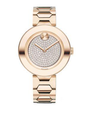 MOVADO 32Mm Bold Crystal Bracelet Watch, Carnation in Rose Gold