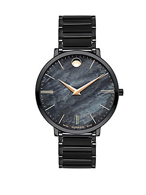 Ultra Slim Black Stainless Steel Watch by Movado