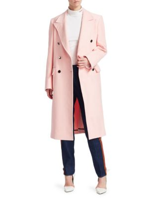 Double-Breasted Strong-Shoulder Slim Cotton Moleskin Mid-Calf Coat, Cherry Blossom