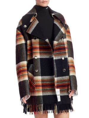 Double-Breasted Boxy Plaid Wool Jacket W/ Fringe Trim in Black