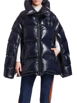 Tech-Taffeta Oversized Puffer Coat, Navy