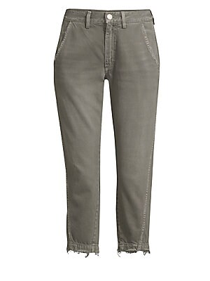 """Image of Relaxed trousers with a vintage distressed finish Belt loops Zip fly with a button close Side seam pockets Back patch pockets Tapered cuffs Rise, about 11"""" Inseam, about 25"""" Cotton/rayon Machine wash Made in USA Model shown is 5'10"""" (177cm) wearing a US s"""