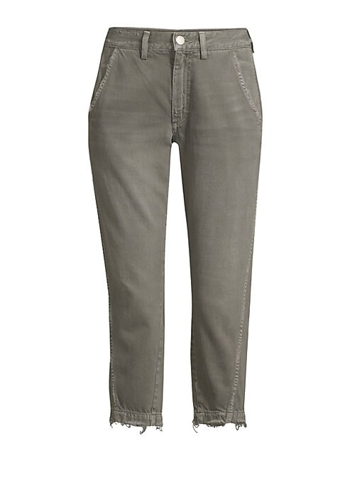 """Image of Relaxed trousers with a vintage distressed finish. Belt loops. Zip fly with a button close. Side seam pockets. Back patch pockets. Tapered cuffs. Rise, about 11"""".Inseam, about 25"""".Cotton/rayon. Machine wash. Made in USA. Model shown is 5'10"""" (177cm) weari"""