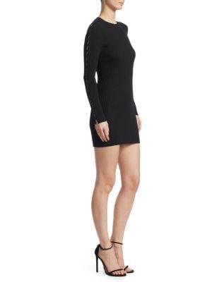 Ribbed Long-Sleeve Stapled Mini Dress, Black