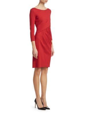 Funnel-Neck Long-Sleeve Ponte Midi Dress, Red