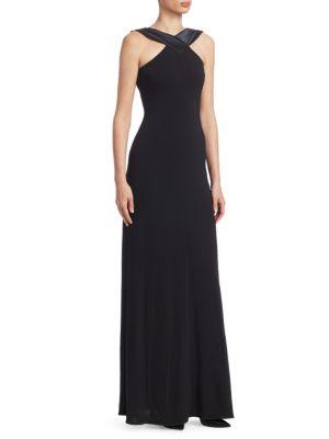 A-Line Halter Jersey Evening Gown W/ Satin Trim, Black