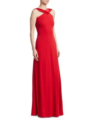 Crisscross Back Panel Gown, Red