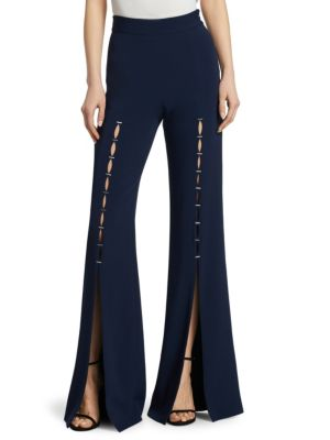Embellished Stretch-Crepe Flared Pants, Midnight