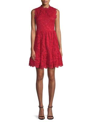 Poppy Field Lace Dress W/ Scalloped Trim, Ling On Berry