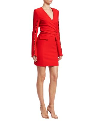 Bold-Shoulder Wrap Dress, Red