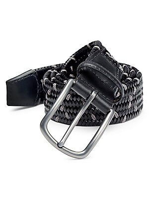"Image of ONLY AT SAKS. Essential woven belt with stretch trim. Adjustable closure Cotton/viscose/rubber Made in USA SIZE & FIT Width, about 1.5"". Mens Pvt Brands - Sfamc Accessories. Saks Fifth Avenue. Color: Black Charcoal. Size: 42."