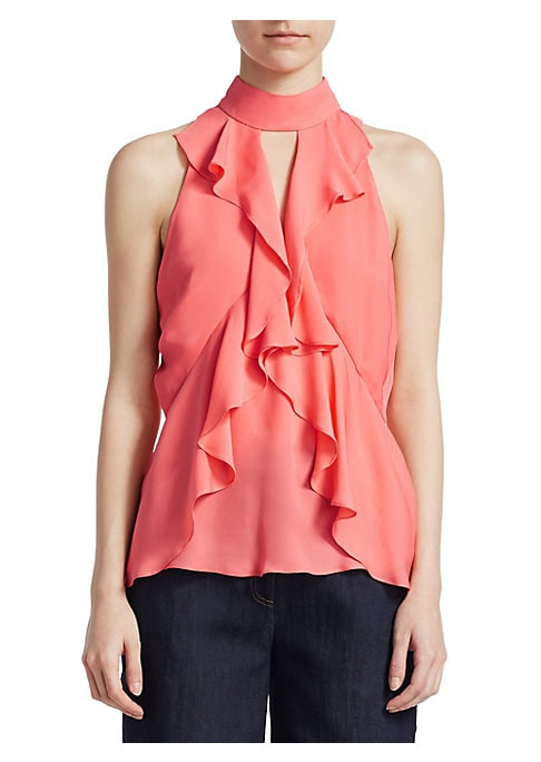"""Image of Airy sleeveless top with cascading ruffles. High neckline with back button closure. Sleeveless. Back keyhole. Pullover style. About 26"""" from shoulder to hem. Polyester/spandex. Dry clean. Imported. Model shown is 5'10"""" (177cm) wearing US size Small."""