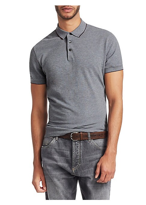 """Image of Piping elevates woven polo. Polo collar. Short sleeves. Rib-knit cuffs. Three-button placket. About 30"""" from shoulder to hem. Cotton. Dry clean. Made in Italy."""
