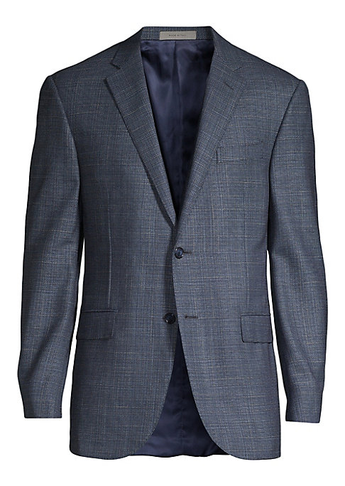 """Image of A subtly checkered suit jacket made from luxe wool-silk blend. Notch lapel. Long sleeves. Chest welt pocket. Button front. Waist flap pockets. Lined. About 30"""" from shoulder to hem. Wool/silk. Dry clean. Made in Italy."""