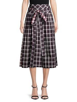 Academy Belted Plaid A-Line Midi Skirt, Black Multi