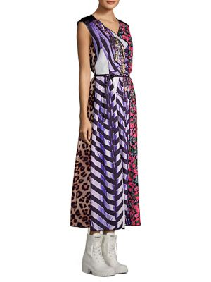 Sleeveless V-Neck Photographic Mixed-Print A-Line Dress, Purple Multi