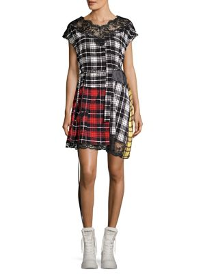 Lace-Trimmed Plaid Silk-Chiffon And Shell Mini Dress, White Multi
