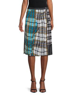 Patchwork Plaid Silk Crepe De Chine Skirt, Blue Multi