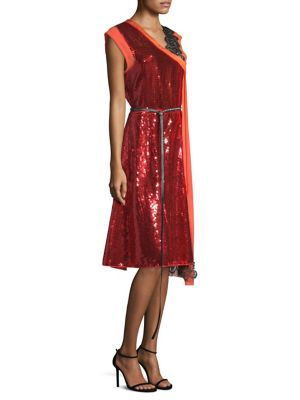 Sleeveless Mixed-Media Sequined Cocktail Dress W/ Leather Belt, Bright Red