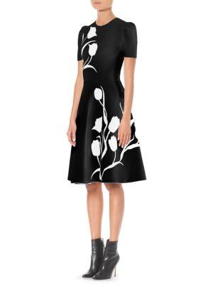 Short-Sleeve Tulip-Jacquard Fit-And-Flare Dress, Black White