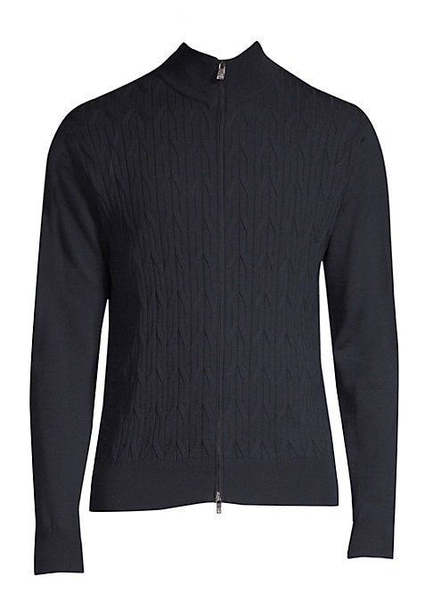 Image of Cable knit zip-up sweater woven in luxe wool. Stand collar. Long sleeves. Zip front close. Rib-knit trim. Wool. Dry clean. Made in Italy.