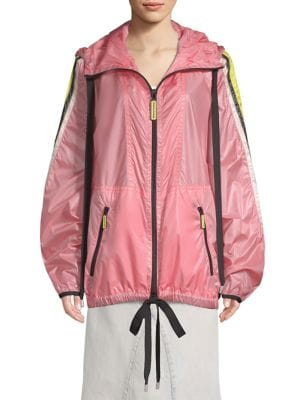 Hooded Stripe Windbreaker, Bright Pink