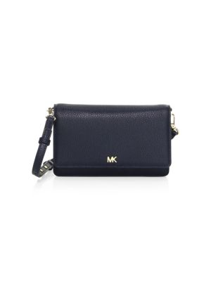 Leather Crossbody Phone Wallet - Blue, Admiral