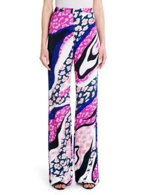 EMILIO PUCCI Print Jersey Palazzo Pants in Pink