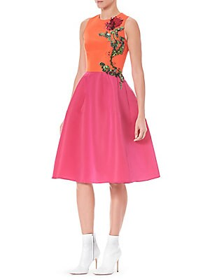 505c8f0dde05 Carolina Herrera - Silk Faille Embroidered A-Line Dress - saks.com