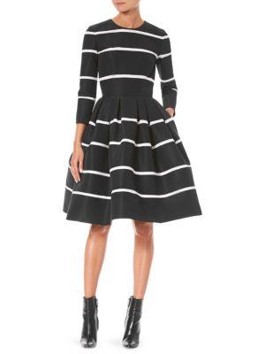 CAROLINA HERRERA Three-Quarter Sleeve Fit-And-Flare Striped Cocktail Dress in Black