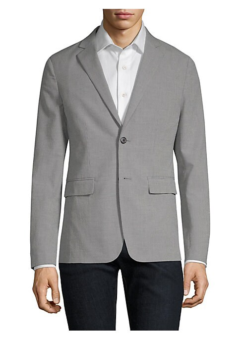 """Image of From the Saks IT LIST. THE JACKET. The wear everywhere layer that instantly dresses you up. Tailored cotton jacket in button-front style. Notch collar. Long sleeves. Front flap pockets. Button-front. About 29"""" from shoulder to hem. Cotton/polyester/linen."""