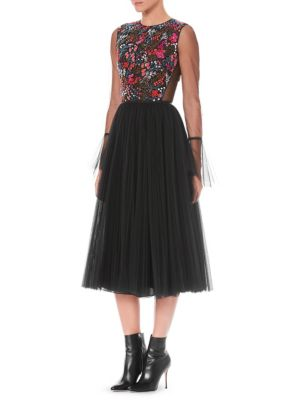 Long-Sleeve Floral-Embroidered Bodice Full Tulle Cocktail Dress, Black
