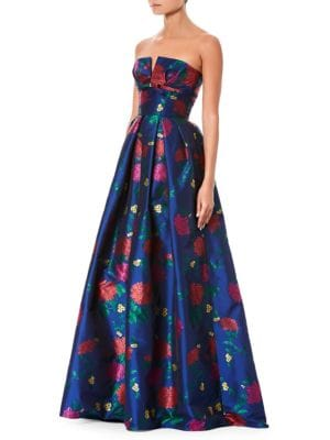 Strapless Bustier Floral-Print Evening Gown, Blue Multi