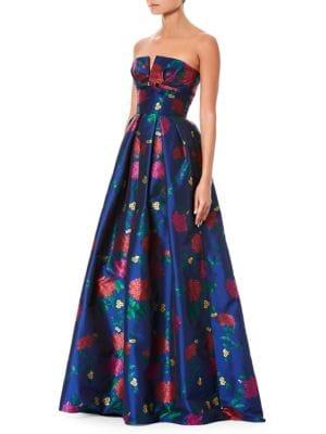 CAROLINA HERRERA Strapless Bustier Floral-Print Evening Gown in Blue