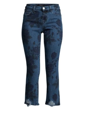 Selena Mid Rise Crop Bootcut Jeans In Cotillion