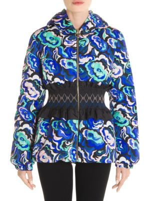 Printed Cinched Waist Puffer Jacket, Multi