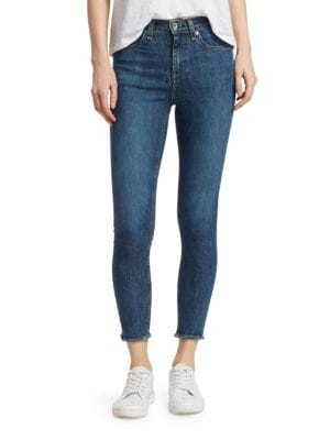 Cropped Frayed High-Rise Skinny Jeans, West