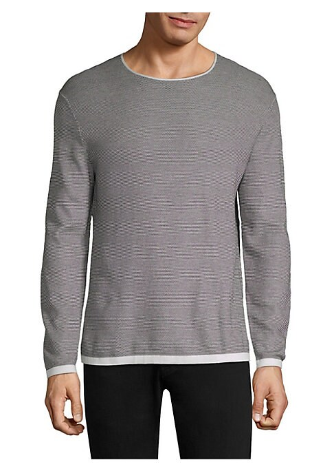 """Image of Cotton crewneck pullover with contrast color trim. Crewneck. Long sleeves. Pullover style. About 29"""" from shoulder to hem. Cotton. Dry clean. Imported."""