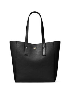 Junie Large Leather Shoulder Tote Bag in Black