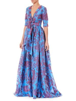 Twist-Tie Front Elbow-Sleeve Jacquard Trench Evening Gown in Blue Multi