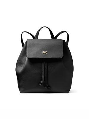 Junie Medium Pebbled Leather Backpack, Black