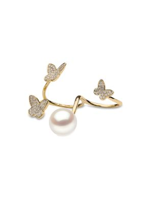 YOKO LONDON 18K Yellow Gold, 13Mm Cultured South Sea Pearl & Diamond Double Ring