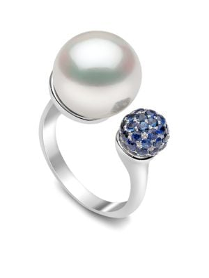 YOKO LONDON 18K White Gold Pearl & Sapphire Ring in Silver