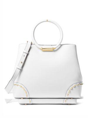 Herron Medium Leather East-West Tote Bag in Optic White