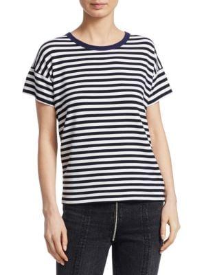 Rag And Bone Navy And White Striped Kat Split Back T-Shirt, White Navy